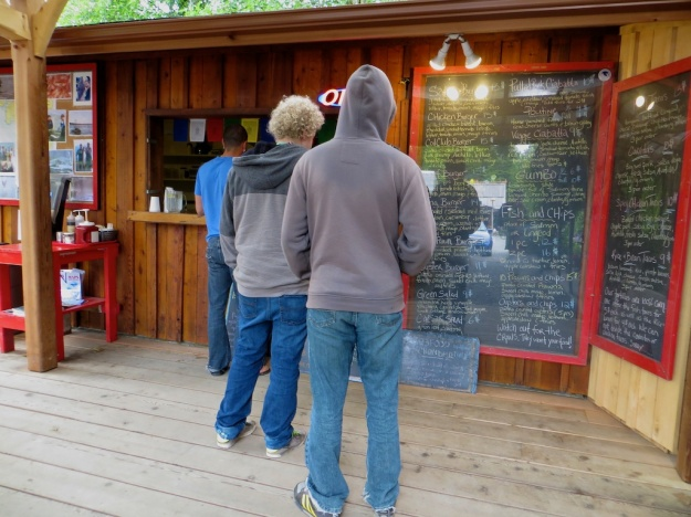 Lining up for killer fish and chips at Wildside Grill, Tofino B.C.