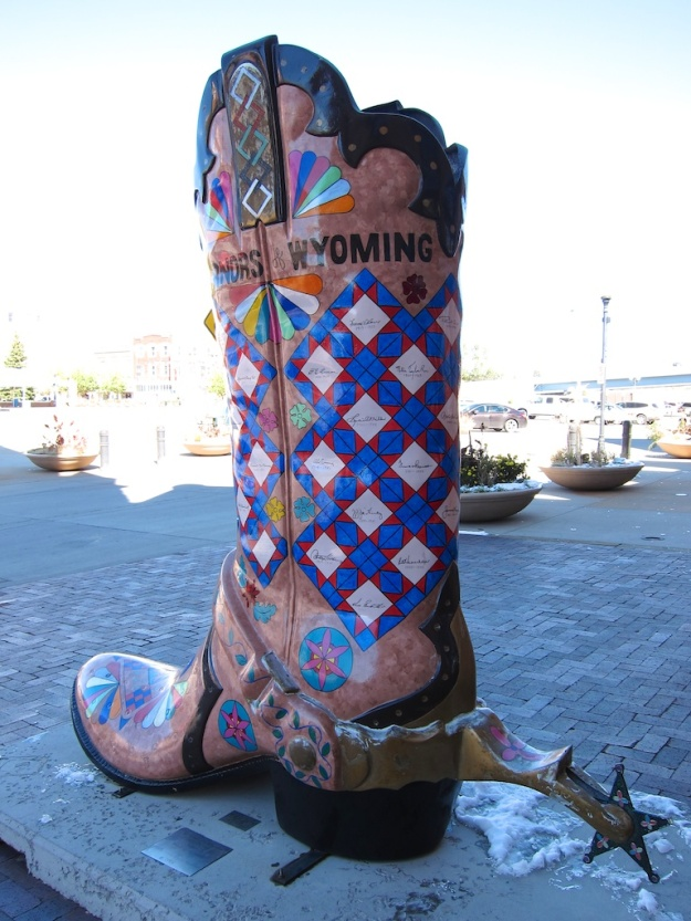 One of many artistic cowboy boots scattered around Cheyenne