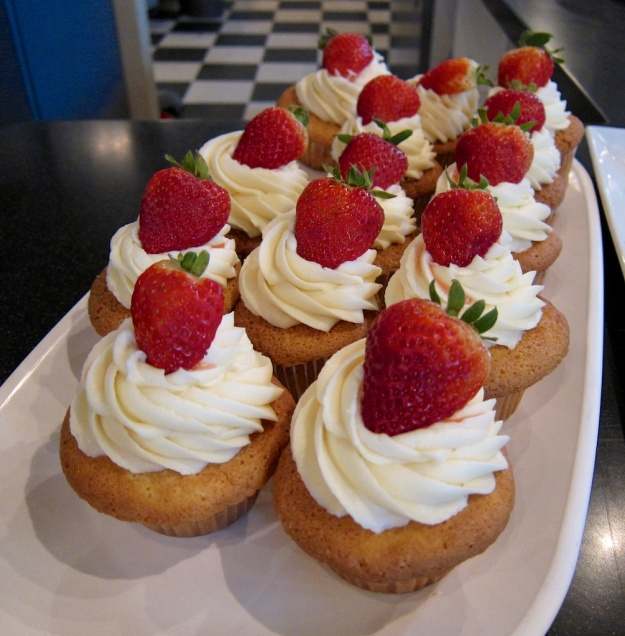Succulent strawberry shortcake cupcakes at the elegant Harper and Madison in Billings, Montana