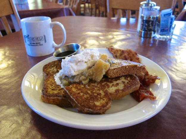 Oh-my-god rhubarb pineapple French toast at Cafe Regis in Red Lodge, Montana