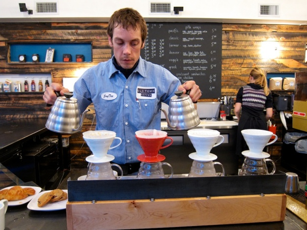 J.T. doing his magic at Old Town Coffee, Lander WY