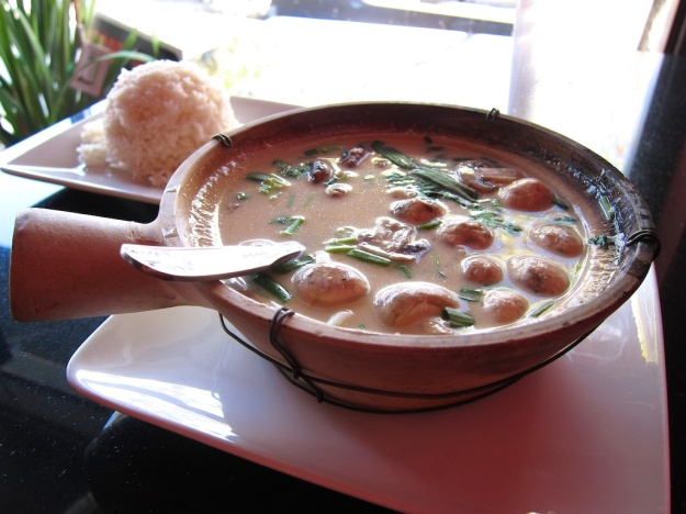 Savoury Tom Ka soup at Anong's Thai Cusine, Rawlins Wyoming