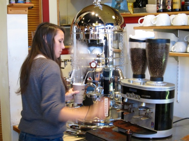 Gleaming Elektra espresso machine at Coal Creek Coffee, Laramie Wyoming