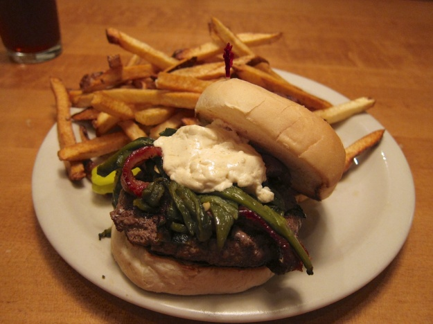 A juicy date night burger, by myself, at Mountain Sun Pub, Boulder