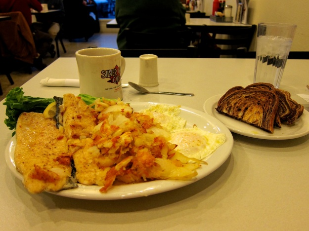 Trout 'n eggs and all the fixings for just $9.99 at Silver Grill Cafe