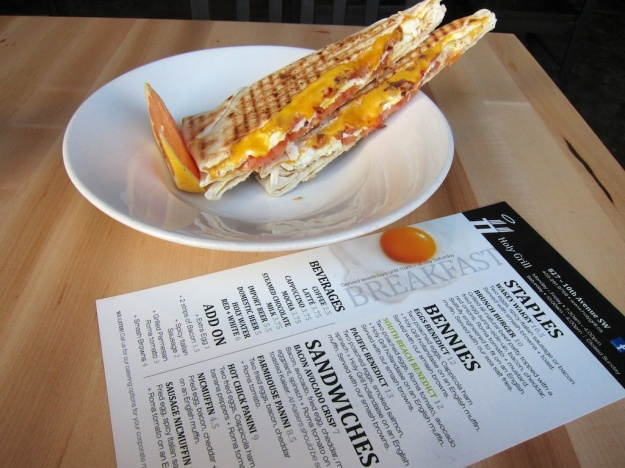 Tasty breakfast panini at Holy Grill, but what's with the insipid tomatoes?