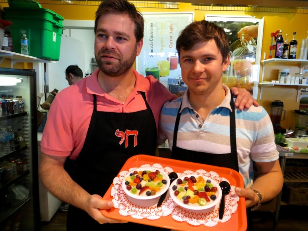 Danny and Evgeny show off the fabulously creamy, fruity oatmeal at Margarita's Dishes
