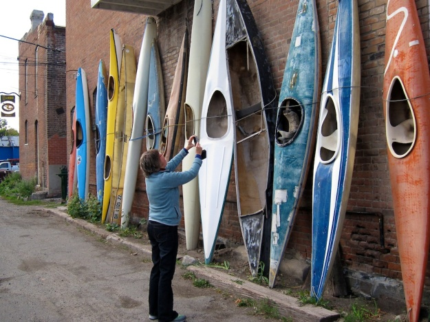 Even the kayaks are turned into art in Salida, Colorado
