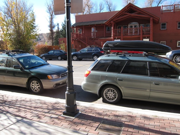 The emblem of outdoor, active Colorado: the Subaru wagon