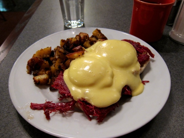 Eggs Benedict on a mountain of corned beef at Creekside Cafe & Grill. Yum.