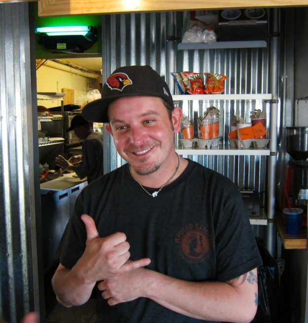 Josh, one of the friendly, frenetic crew at D'Lish Drive-Thru in Scottsdale, Arizona