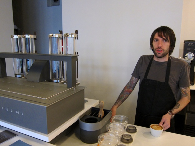 Coffee guru Joe Evans and maybe the world's most advanced individual-cup brewing system at Nobrow Coffee Werks in Salt Lake City