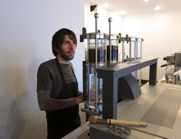 Highbrow coffee brewing setup at Nobrow Coffee Werks in Salt Lake City