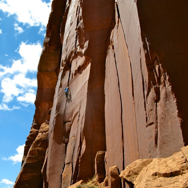 World-class crack climbing in Indian Creek, Utah. Photo: Nancy Hansen