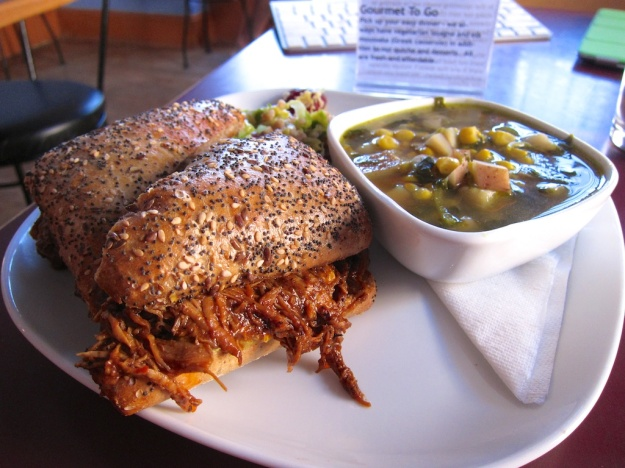Fabulous mole-chicken sandwich at Curious Kumquat in Silver City, New Mexico