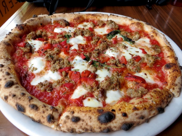The sourdough crust at Pizzeria Prima Strada is among the best I've tasted