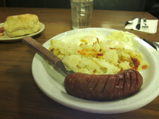 Nice enough breakfast, other than the cold biscuit, at Buffalo Cafe in Twin Falls, Idaho