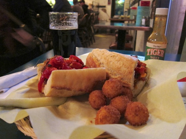 Basque-style Solomo sandwich with a side of croquets at Bar Gernika in downtown Boise