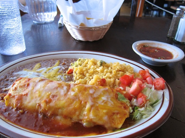 Chicken burrito at Pueblo Lindo in McCall, Idaho