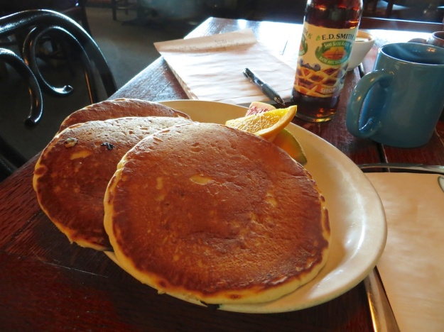Mmm! Blueberry pancakes hot off the griddle at Highlevel Diner