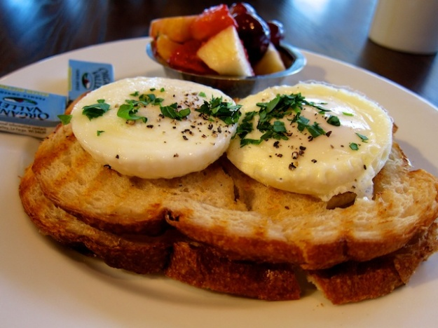 First-rate poached eggs perched on sourdough at Grove Cafe