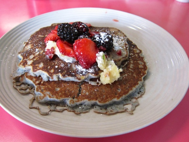 Can't beat the blue corn pancakes, topped with fresh fruit and piñon nut butter at Sophia's Place