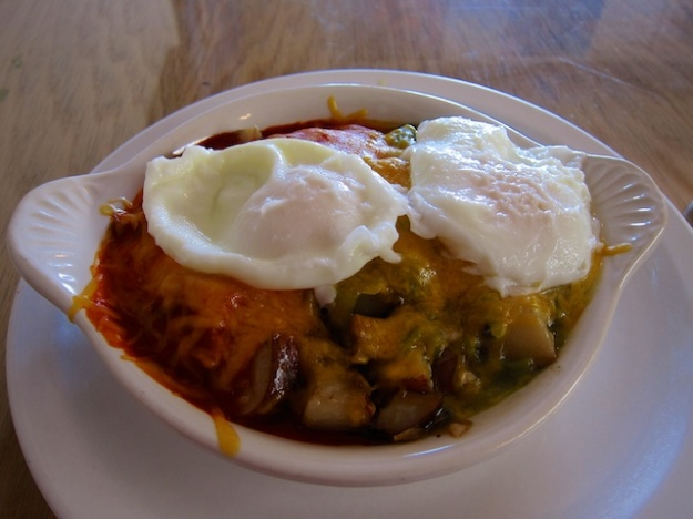 Rounding up some eggs in my Sheepherder's Breakfast at Tecolote Cafe
