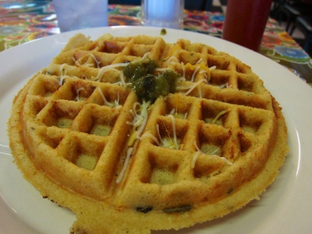 First-rate green-corn waffle at Mother Hubbard Cafe