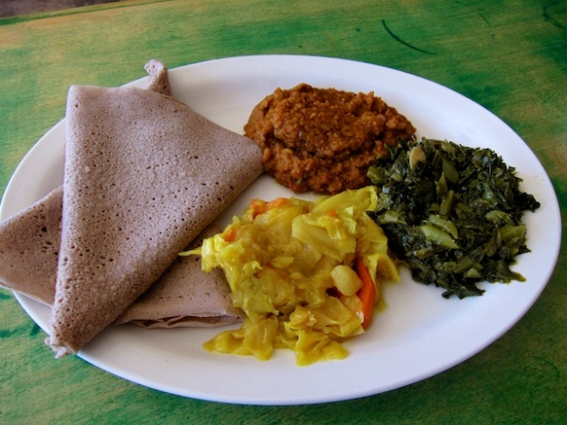 Fabulous Ethiopian vegetarian plate at Cafe Desta