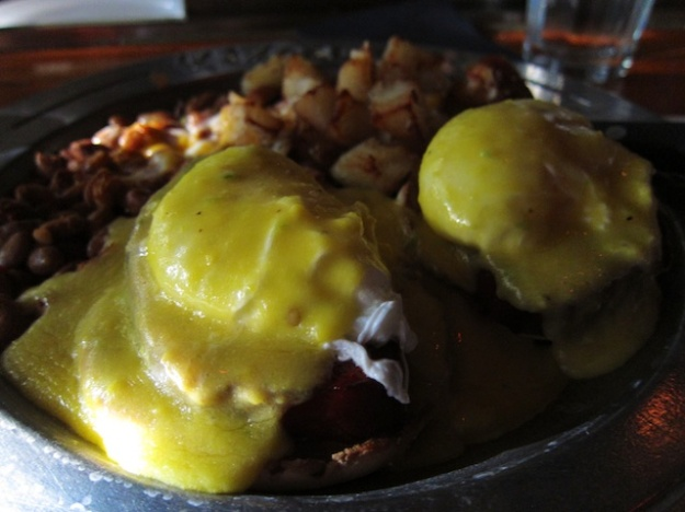 Even my hands are a bit shaky as I dig into this massive eggs benedict breakfast at Dick's Hideaway