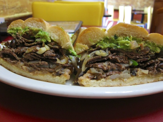 A hearty steak torta at Los Reyes de la Torta