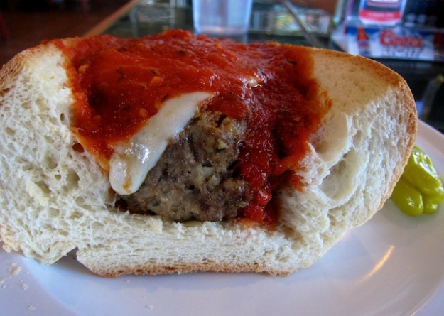 House-made meatballs and tomato sauce inside a soft roll at DeFalco's Italian Deli in Scottsdale
