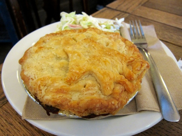This flaky pastry contains a hot steak and stout pie at Shuswap Pie Company