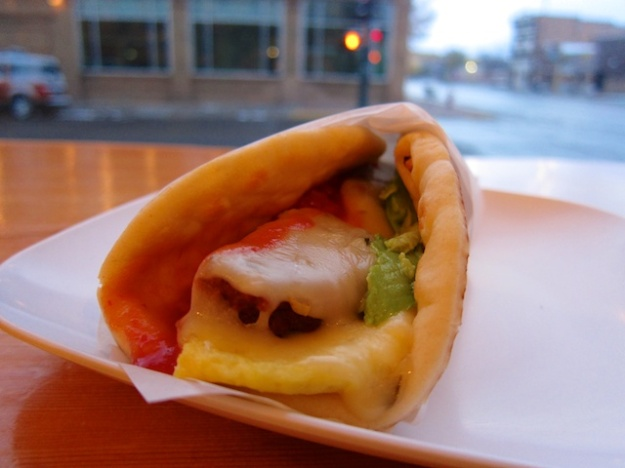 This delightful breakfast wrap is an unusual example of a coffee place serving up good food. The reason? They made it fresh to order.
