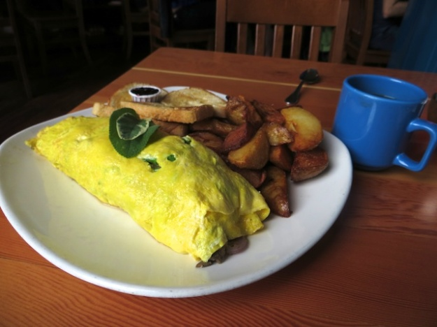 This place served up an excellent omelette. The coffee? Not so much