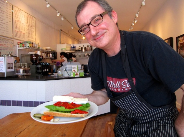 Saing-Germain co-owner Stephano Liapis delivers a delectable baguette sandwich, including his own pickles.