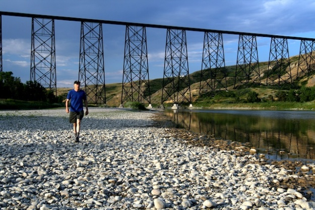 The spectacular High Level Bridge spanning the Oldman River Valley in Lethbridge, Alberta