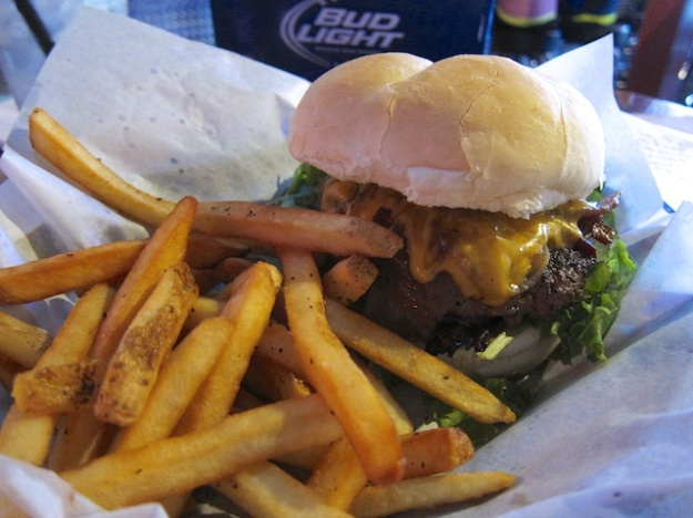 Time for a great dive bar burger at Lucky 13 Bar & Grill