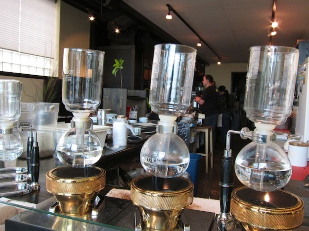 More coffee-making wizardry (this time syphon style) at caffe d'bolla