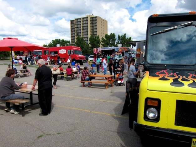 Food Trucks gathered for Heritage Day at Calgary's Kingsland Farmers' Market