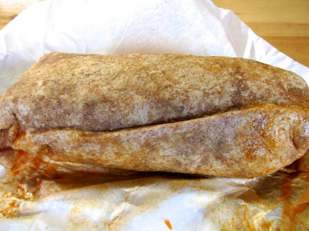 It's by no means all vegetarian at Community Cafe, witness this hearty chicken burrito