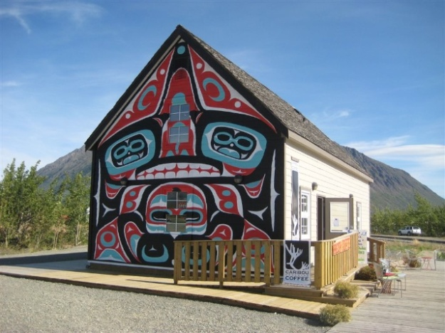 Terrific Tlingit mural at Caribou Crossing Coffee in Carcross