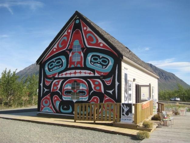 Terrific Tlingit mural at Caribou Crossing Coffee in Carcross