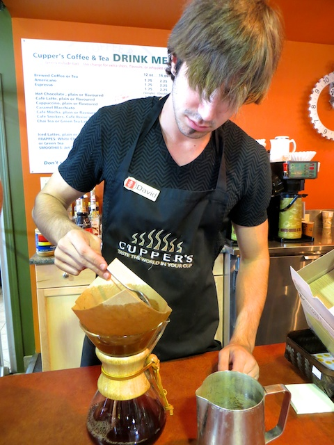David making a high-test Chemex pot of Costa Rican in Cupper's Coffee & Tea