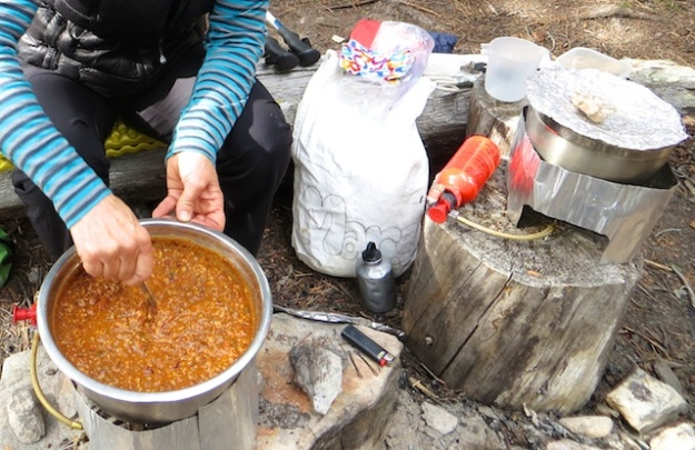 There's no beating this homemade chile. But it's a lot of work, with two stoves going in camp