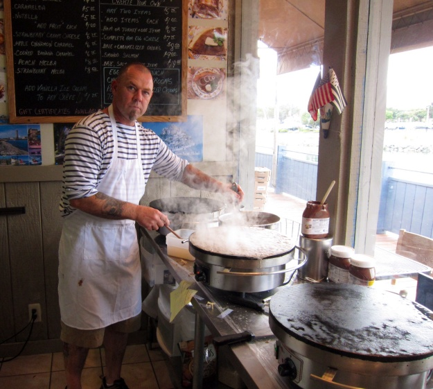 Thierry Crocquet  starts cooking his authentic Brittany crepes