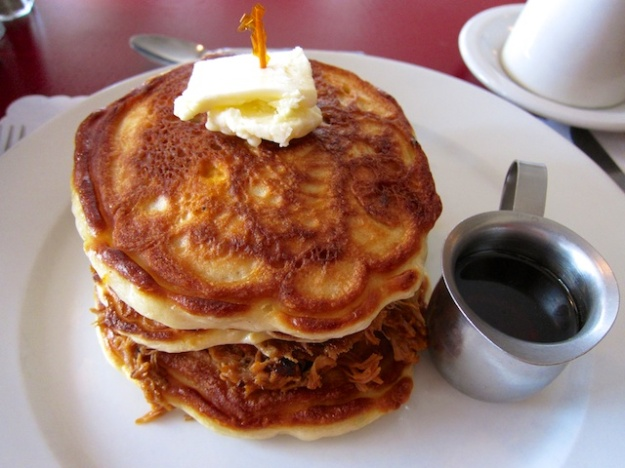 How about some pulled pork layered between these  pancakes, with Jack Daniels maple syrup as a sweetener?