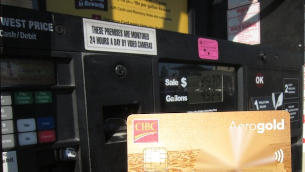 This credit card is not quite good as gold if you're a Canadian buying gas in the U.S.