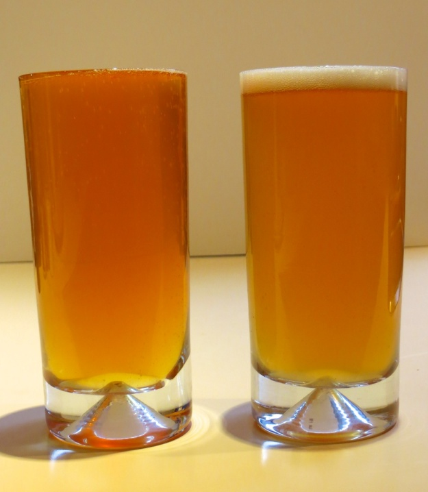 Blow the foam off the Canadian craft beer (right), and it's an ounce short of its American cousin