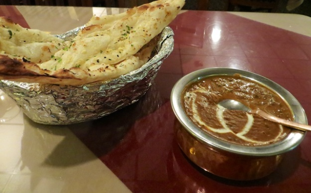 A delectable daal dish and garlic naan at Mehtab East Indian Cuisine